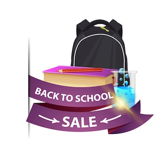 Back to school sale, isolated web banner with ribbon