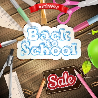 Back to school sale label card.