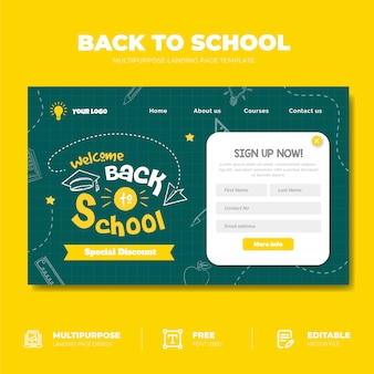 Back to school sale landing page concept