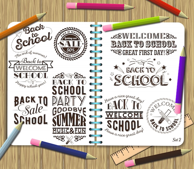 Back to school and sale lettering design element on exercise book background with color pencils
