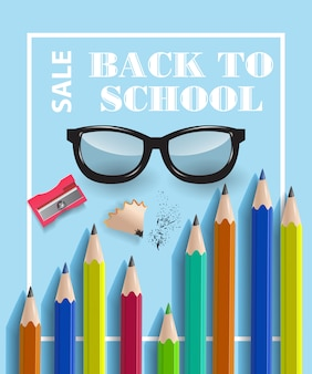 Back to school, sale lettering in frame with glasses and pencils