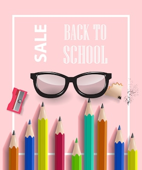 Back to school, sale lettering in frame with pencils