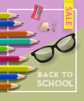 Back to school, sale lettering in frame with sharpener