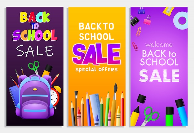 Back to school sale letterings set, backpack, pencils, brushes