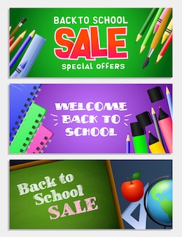 Back to school sale letterings set, chalkboard, notebooks