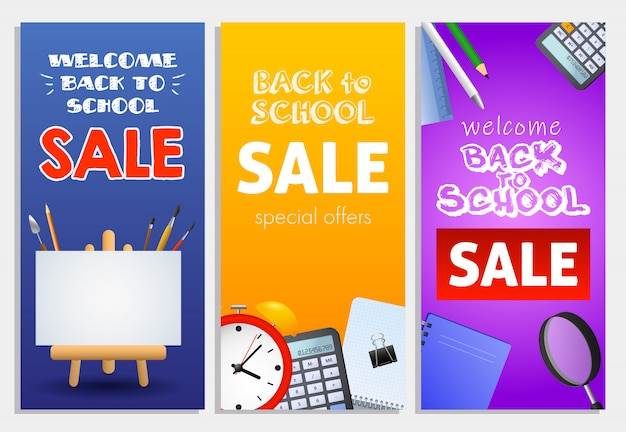 Back to school sale letterings set, easel, alarm clock, loupe