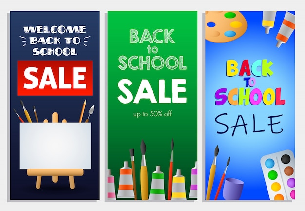 Back to school sale letterings set, paint brushes and easel