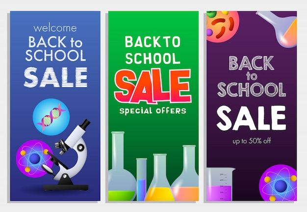 Back to school sale letterings set, physics, chemistry, biology