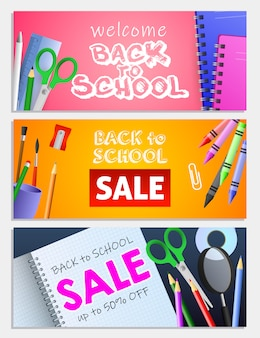 Back to school sale letterings set, scissors, pencils, copybooks