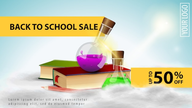 Back to school sale, light discount web banner for your website with books and chemical flasks