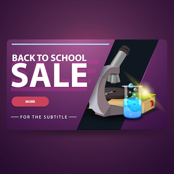 Back to school sale, modern 3d volumetric web banner for your website with microscope