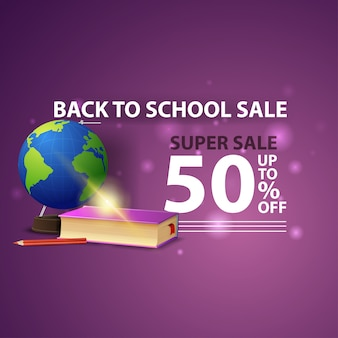 Back to school sale, modern creative 3d web banner with globe and school textbooks
