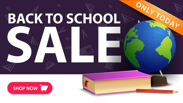Back to school sale, modern discount banner with button