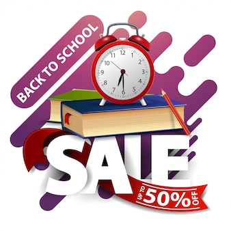 Back to school sale, modern discount banner with school books and alarm clock