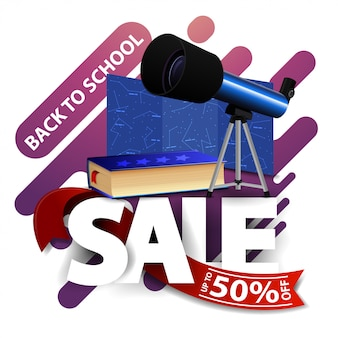 Back to school sale, modern discount banner