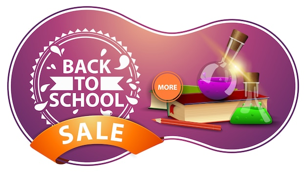 Back to school sale, modern pink discount banner with books and chemical flasks