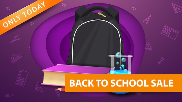 Back to school sale, modern purple discount banner in paper cut shapes