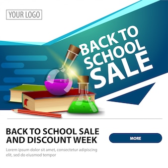 Back to school sale, modern stylish square web banner for advertising and promotion of your business