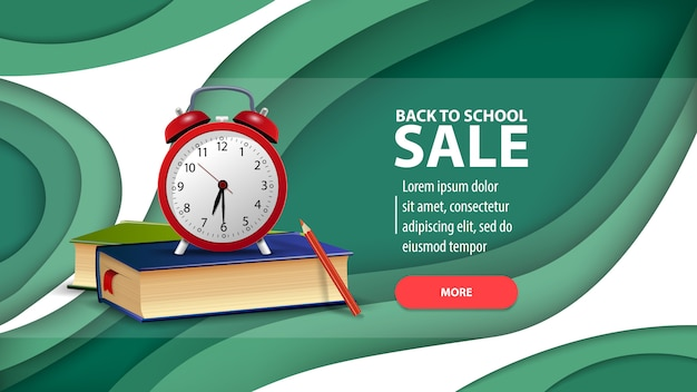 Back to school sale, modern web banner in paper cut style for your website