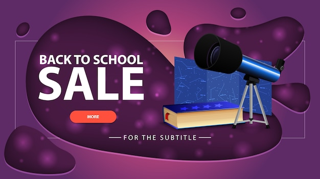 Back to school sale, pink discount banner with modern design for your website with telescope