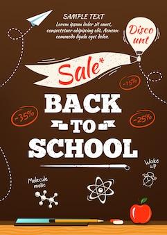 Back to school sale poster. illustration