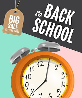 Back to school sale poster with alarm clock and tag