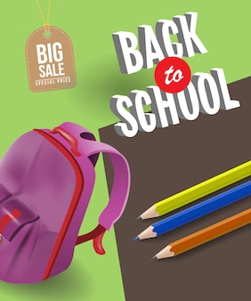 Back to school sale poster with backpack, pencils