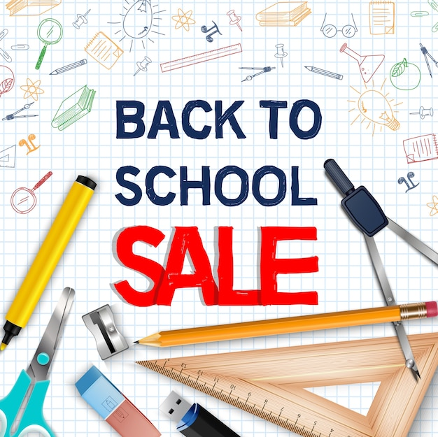 Back to school sale poster with realistic school supplies