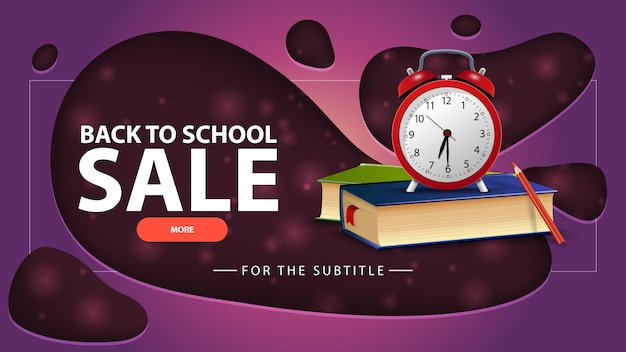 Back to school sale, purple discount banner with school books and alarm clock
