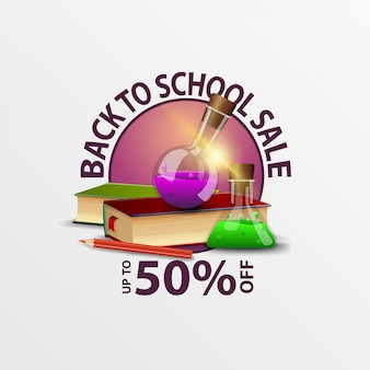 Back to school sale, round discount banner with books and chemical flasks