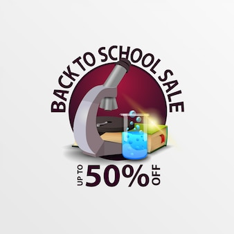 Back to school sale, round discount banner with microscope,