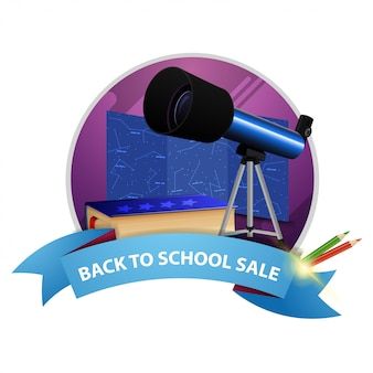 Back to school sale, round discount banner with ribbon