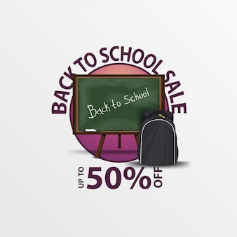 Back to school sale, round discount banner with school board