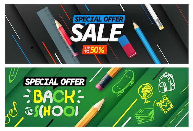 Back to school sale, special offer banner set