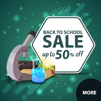 Back to school sale, square discount web banner for your website with microscope