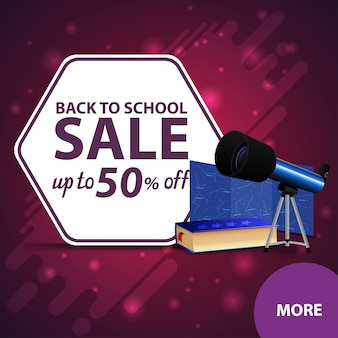 Back to school sale, square discount web banner for your website with telescope