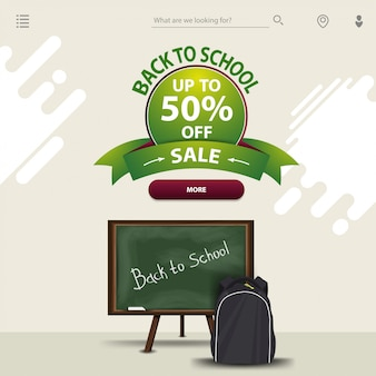 Back to school sale, a template in a minimalist light style