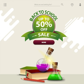 Back to school sale, a template for your website in a minimalist light style with books and chemical flasks