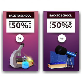 Back to school sale, two discount banners
