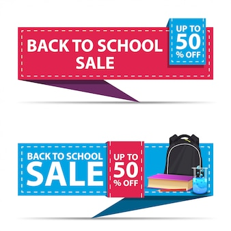 Back to school sale, two horizontal discount banners in the form of a ribbon with school backpack