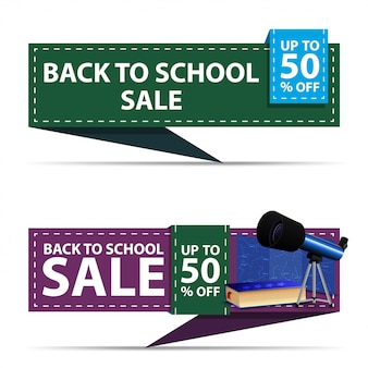 Back to school sale, two horizontal discount banners in the form of a ribbon with telescope