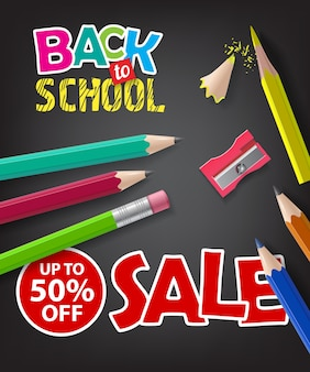Back to school, sale, up to fifty percent off lettering