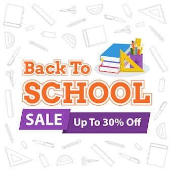 Back to school sale vector design illustration