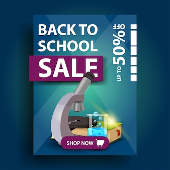 Back to school sale, vertical discount banner with microscope