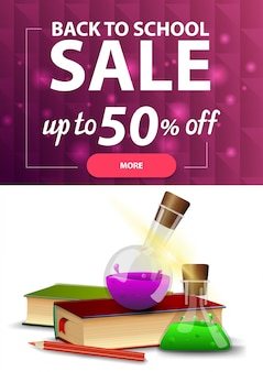 Back to school sale, vertical discount web banner for your site with polygonal texture, books and chemical flasks
