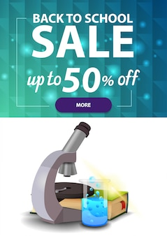 Back to school sale, vertical discount web banner for your site with polygonal texture