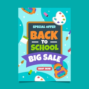 Back to school sale vertical poster template