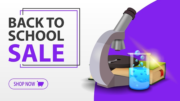 Back to school sale, white banner with microscope, books and chemical flask