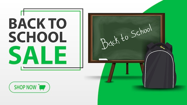 Back to school sale, white banner with school board and school backpack