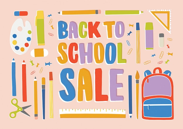 Back to school sale with stationery, supplies and accessories for lessons, items for education.